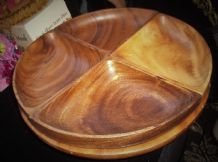 LARGE DENMARK TEAK SOLID WOOD LAZY SUSAN ROTATING TRAY & 4 TRIANGULAR DISHES 14""